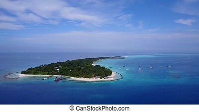 v04602 Aerial flying drone view of Maldives white sandy...