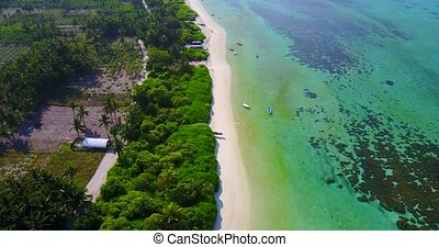 v04878 Aerial flying drone view of Maldives white sandy...