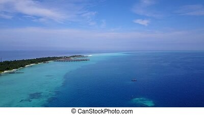v04412 Aerial flying drone view of Maldives white sandy...