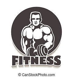 Gym Emblem with Bodybuilder