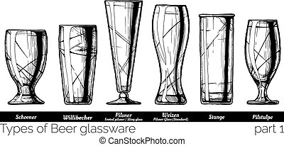 illustration of Beer glassware - Types of Beer glassware....
