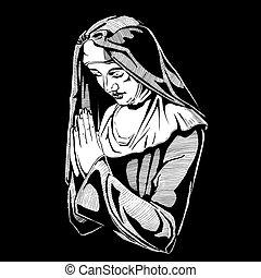 Nun is praying. - Vector hand drawn illustration of praying...