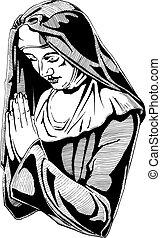 Nun is praying - Vector hand drawn illustration of praying...