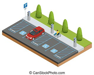 Isometric Cars in the parking lot or car parking for the...