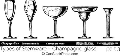 illustration of Stemware types - Types of champagne glass....