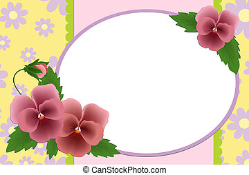 Blank template for photo frame or album with pansies