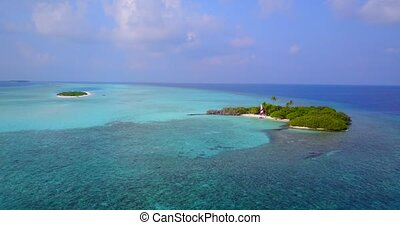 v04288 Aerial flying drone view of Maldives white sandy...