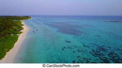 v04242 Aerial flying drone view of Maldives white sandy...