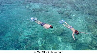 v04070 Aerial flying drone view of Maldives white sandy beach 2 people young couple man woman snorkeling swimming diving on sunny tropical paradise island with aqua blue sky sea water ocean 4k