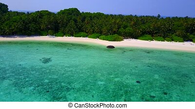v04240 Aerial flying drone view of Maldives white sandy...