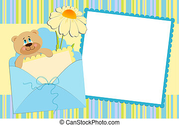 Template for babys photo album or postcard