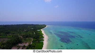 v04971 Aerial flying drone view of Maldives white sandy...
