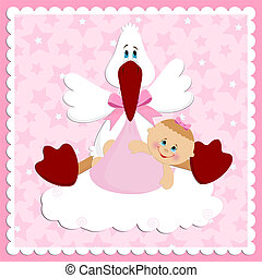 Baby greetings card in pink colors