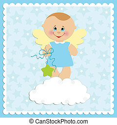 Baby greetings card with angel boy