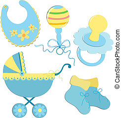 Set of elements for a baby's postcard