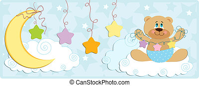 Babys banner with bear in blue colors - Babys banner or...