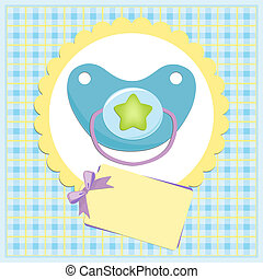 Baby greetings card with blue nipple
