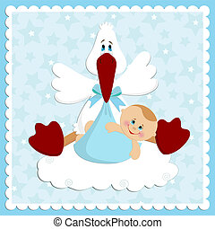 Baby greetings card in blue colors