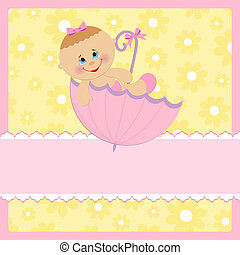 Baby greetings card with pink umbrella