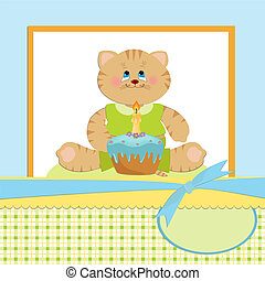 Baby's greetings card with cat - Baby's greetings card for 1...