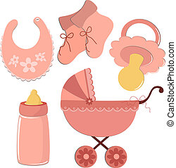 Set of elements for baby's postcard