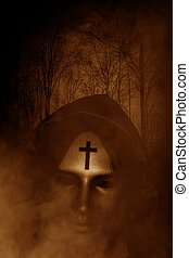 Satan in haunted forest,3d illustration,Horror concept...