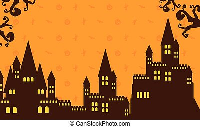 Halloween with dark castle collection vector illustration