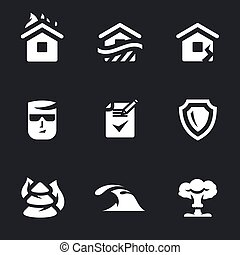 Vector Set of Insurance, Icons. - Fire, flood, earthquake,...