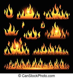 Vector graphic flames illustration isolated on black