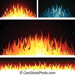 Vector graphic fire flames background