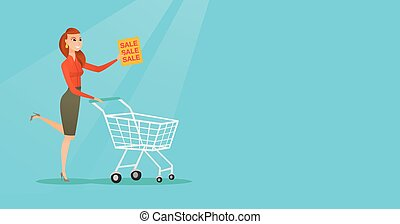 Woman running in a hurry to the store on sale. - Caucasian...