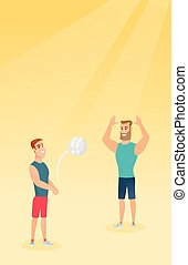 Two caucasian men playing beach volleyball. - Hipster man...