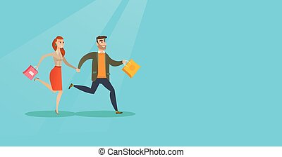 People running in a hurry to the store on sale. - Young...