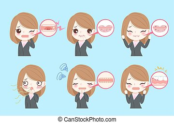 businesswoman with oral problems on the blue background