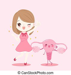 woman with uterus - woman smile and thumb up with uterus on...