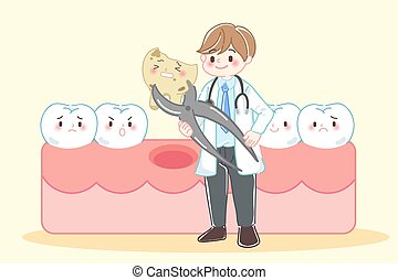 tooth decay problem - cute cartoon dentist with tooth decay...