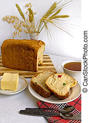 Bread with candied fruit - White homemade bread with colored...