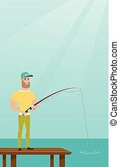 Young caucasian man fishing on jetty. - Young caucasian man...