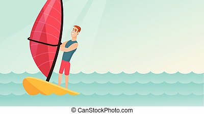 Young caucasian man windsurfing in the sea. Man standing on...