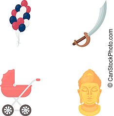trade, business, entertainment and other web icon in cartoon style. gold, monument, idol, icons in set collection.