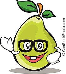 Geek face pear character cartoon