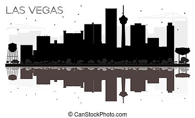 Las Vegas City skyline black and white silhouette with reflections.