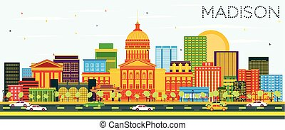 Madison Skyline with Color Buildings and Blue Sky. Vector...