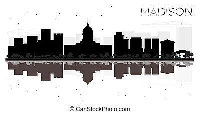 Madison City skyline black and white silhouette with...