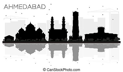 Ahmedabad City skyline black and white silhouette with...