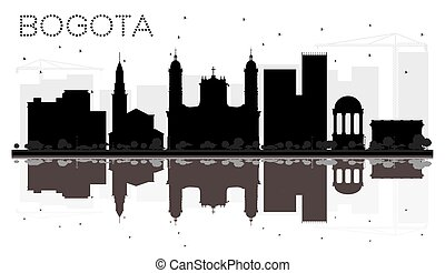 Bogota City skyline black and white silhouette with...