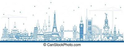 Outline Famous Landmarks in Europe. Vector Illustration.