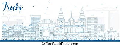 Outline Kochi Skyline with Blue Buildings. Vector...