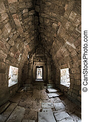 The Preah Khan temple - Interior of The Preah Khan temple in...