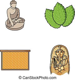 religion, beekeeping and other web icon in cartoon style.cooking, history icons in set collection.